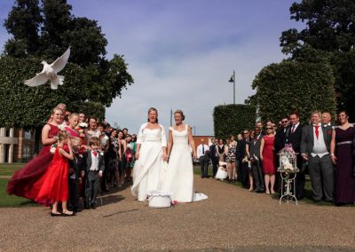 Same sex wedding dove release hertfordshire